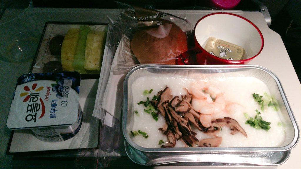 仁川 ローマ 機内食 朝食 おかゆ