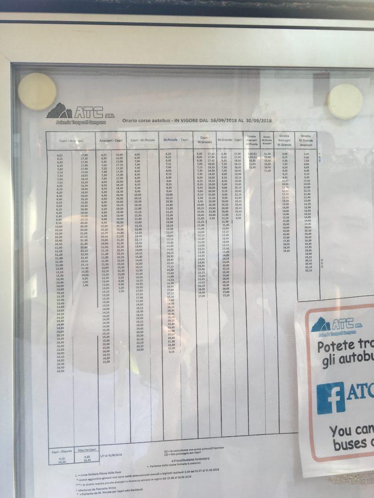 カプリ島 バス 時刻表