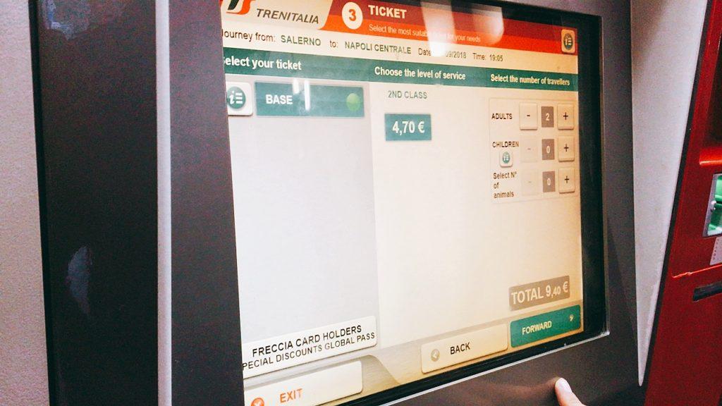 ナポリ イタリア 電車 チケットの買い方