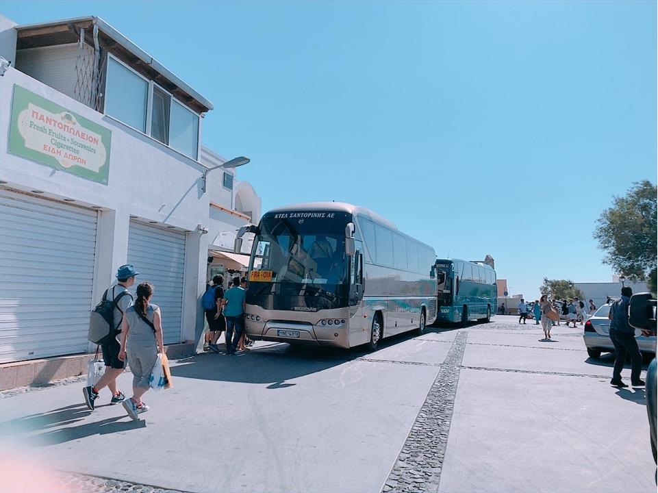 サントリーニ島 バス バス停 バスターミナル
