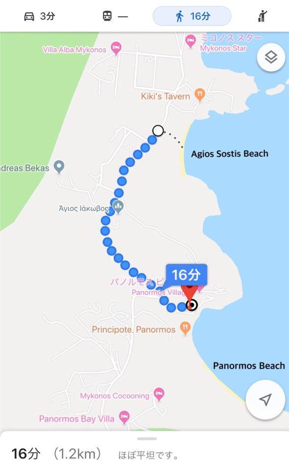 パノラモスビーチ アギオスビーチ 徒歩 移動