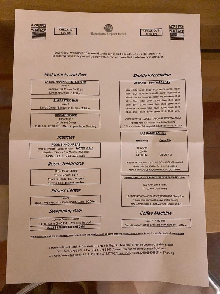 スペイン バルセロナ 空港 周辺 バス シャトルバス 時刻表 BAH バスセロナエアポートホテル トランジット 宿泊