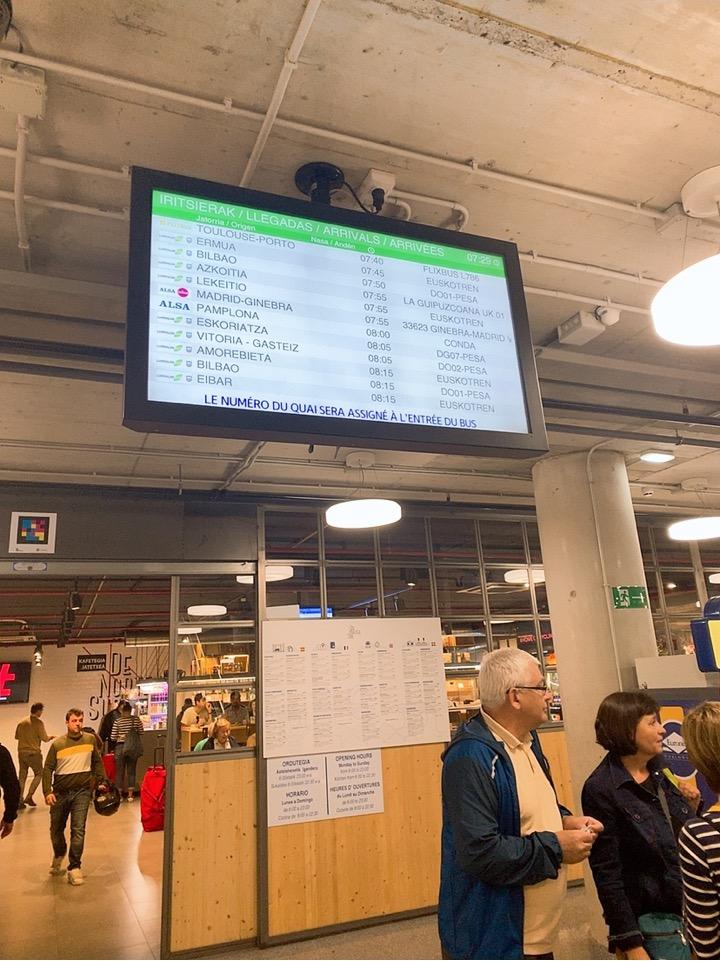 サンセバスティアン ビルバオ空港 行き方 バス バス乗り場 ドノスティア駅