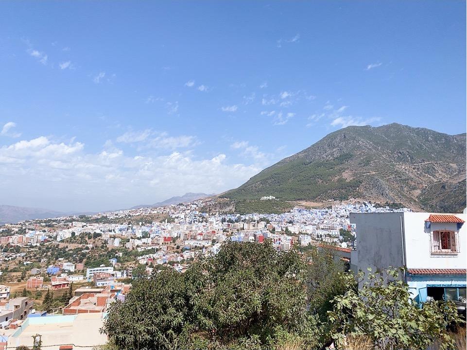 モロッコ フェズ シャウエン CTM バス 車窓 青い街