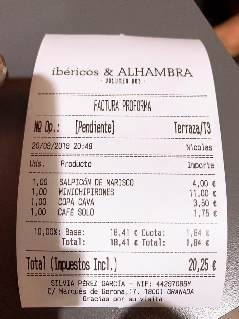 ibericos&alhambra ディナー バル グラナダ スペイン