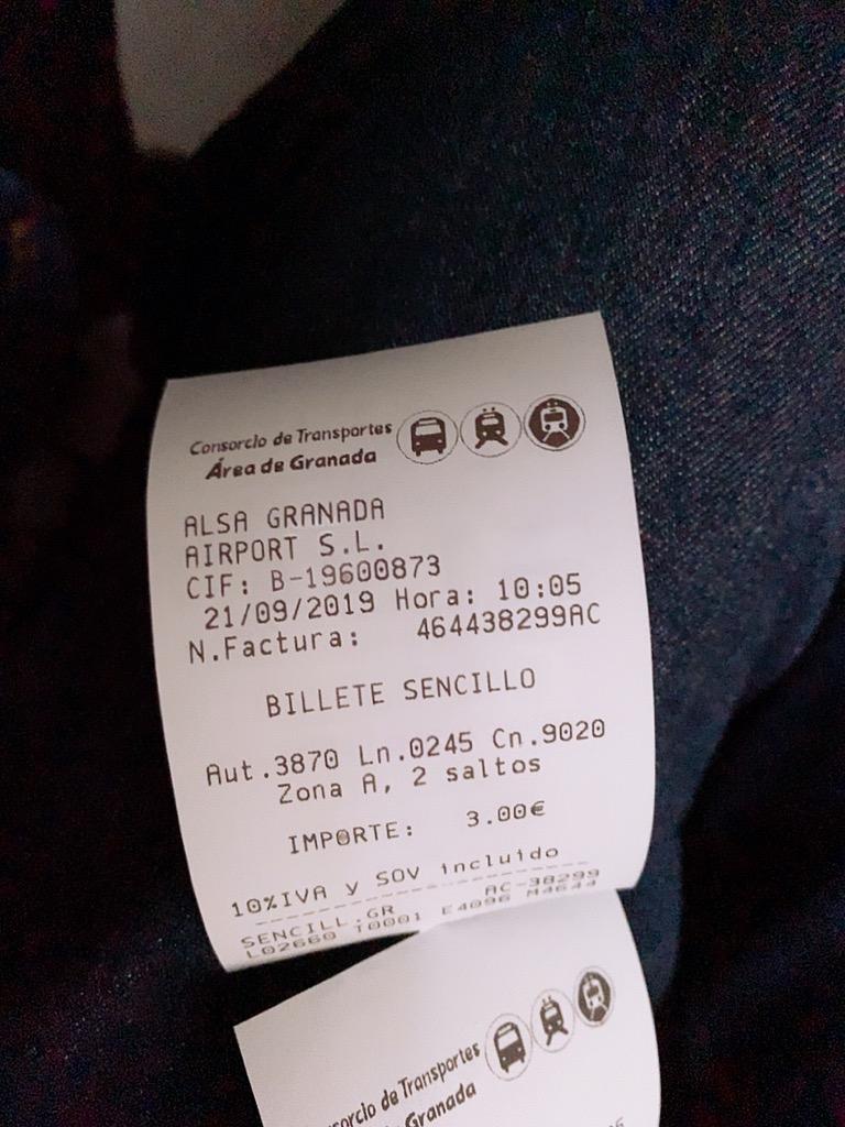 グラナダ ALSA エアポート バス 空港 移動