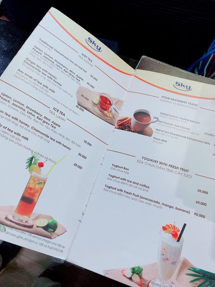 ハノイ ノイバイ空港 国内線 ダナン トランジット 乗り継ぎ 制限エリア 食事 カフェ メニュー