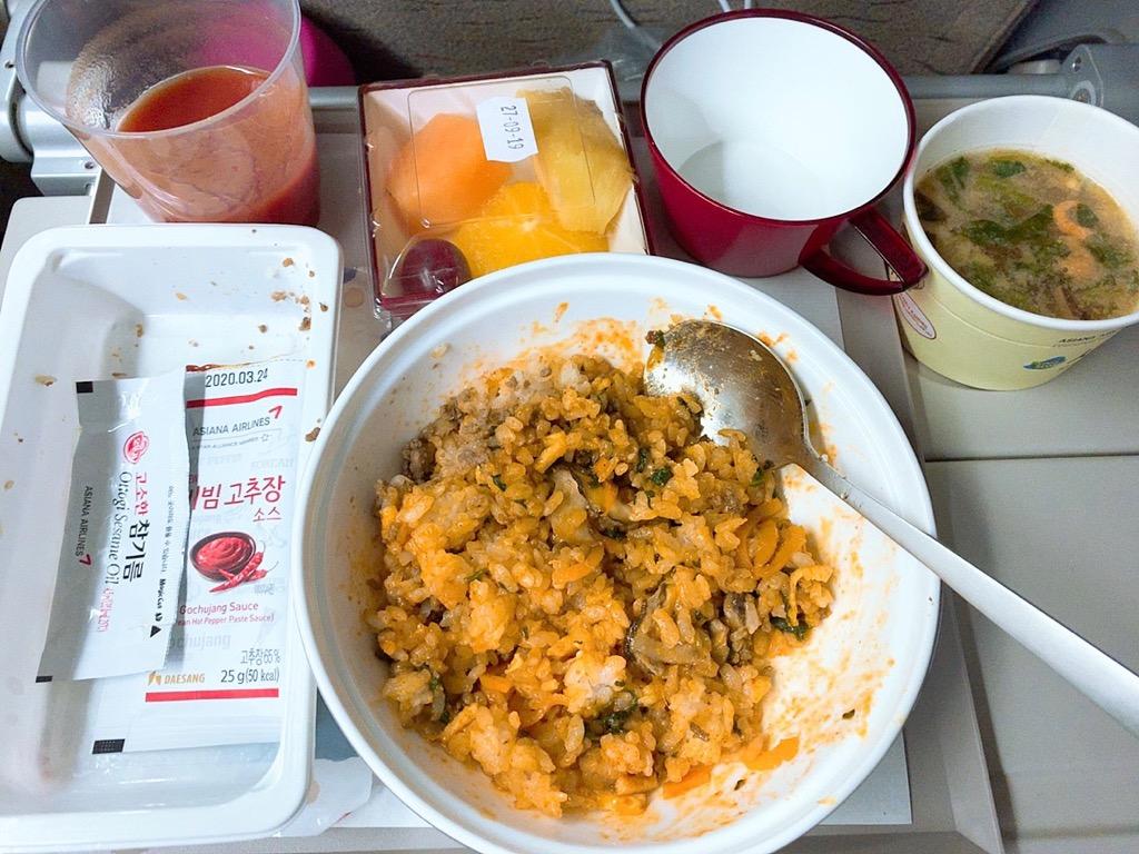 バルセロナ 仁川 機内食 夕食 晩御飯 アシアナ アシアナ航空 アシアナエアライン