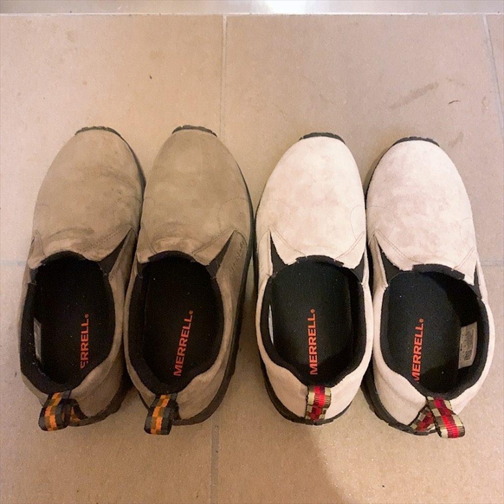 メレル ジャングルモック スリッポン サイズ調節 革靴 痛い 伸ばす 広げる 方法 ペットボトル