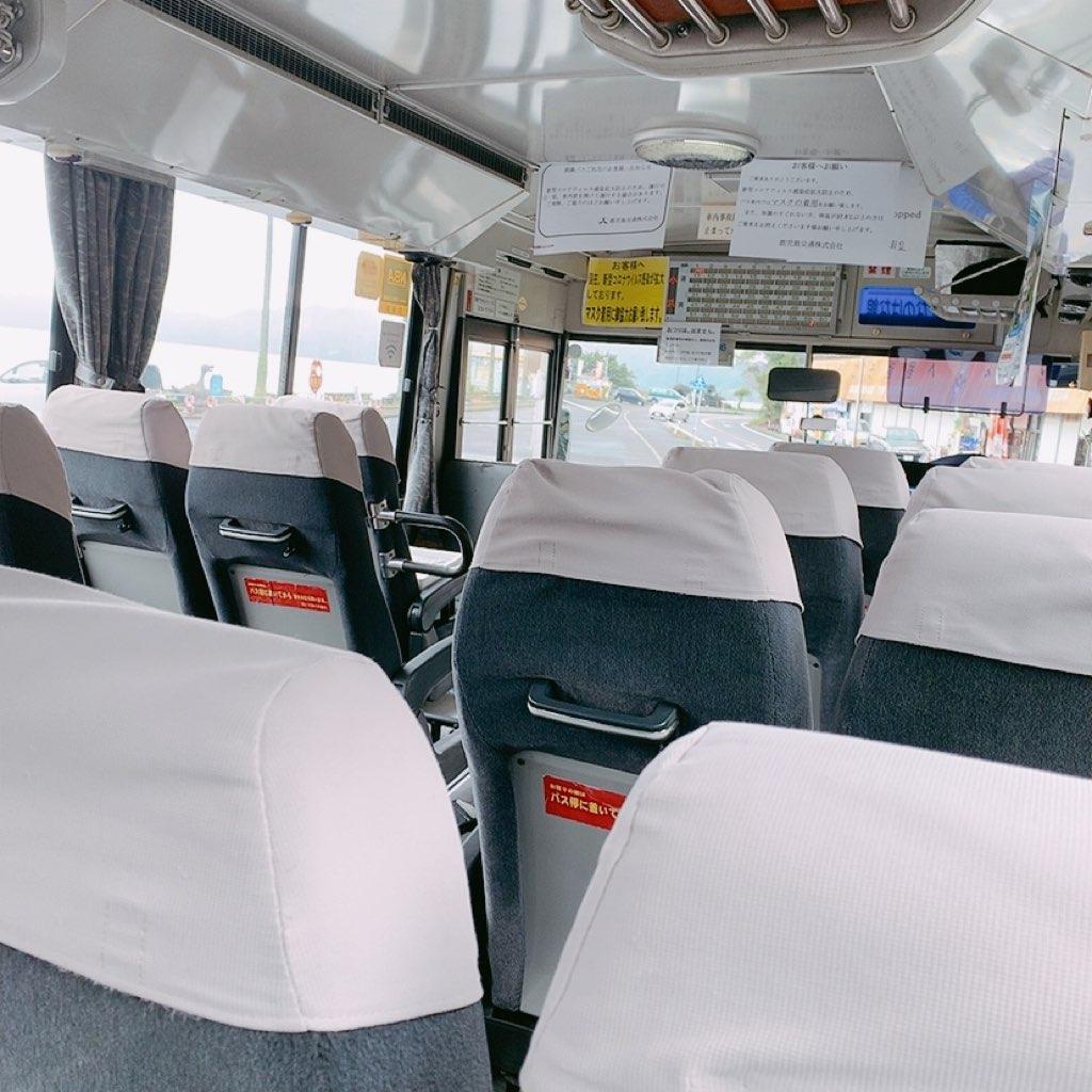 池田湖 バス 車内 鹿児島 指宿 観光 バス のったりおりたり バス 乗り放題